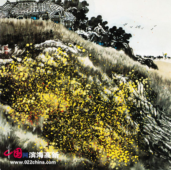 著名画家陈元龙作品:野山坡