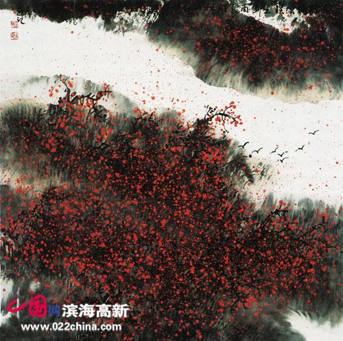 著名画家陈元龙作品:秋山红叶