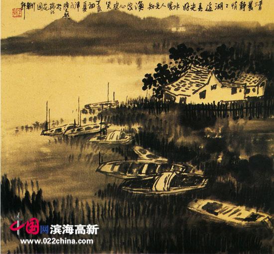 著名画家陈元龙作品:《湖边春色》