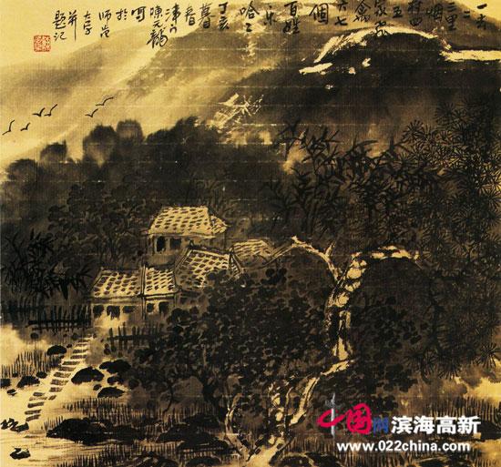 著名画家陈元龙作品:《烟村人家》