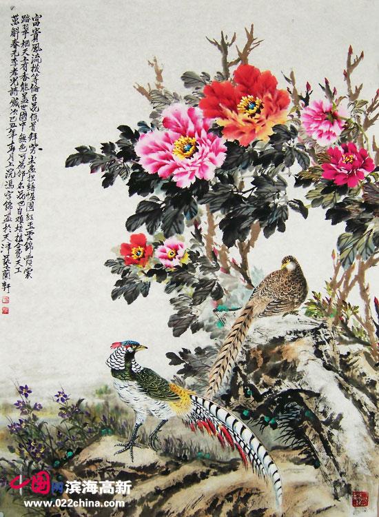 """天津""""冯牡丹""""冯字锦作品:《富贵风流》"""