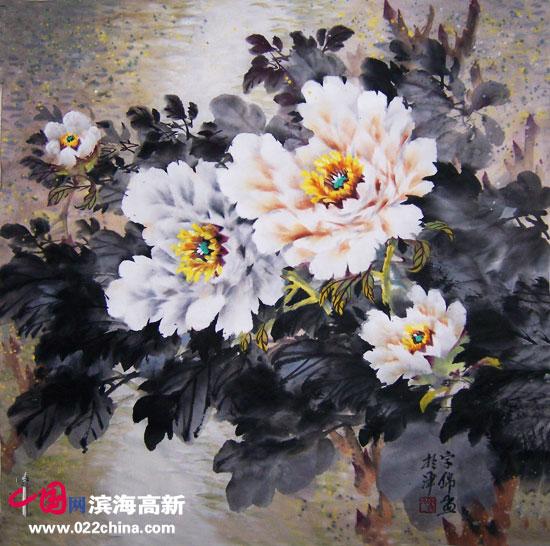 """天津""""冯牡丹""""冯字锦作品:《白牡丹》"""
