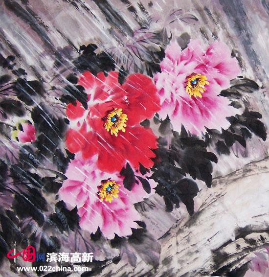 """天津""""冯牡丹""""冯字锦作品:《花艳露春》(局部)"""