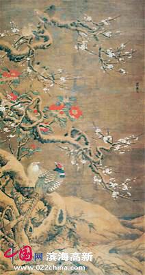 吕纪的《梅竹山禽图》