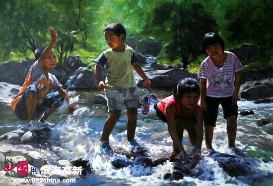 刘永吉作品:《清清小溪水》油画