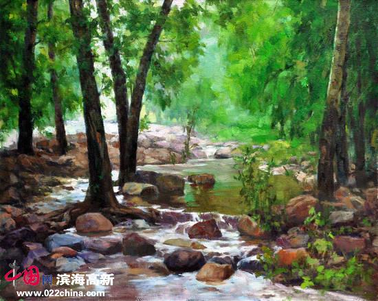 刘永吉作品:《清凉小溪》油画