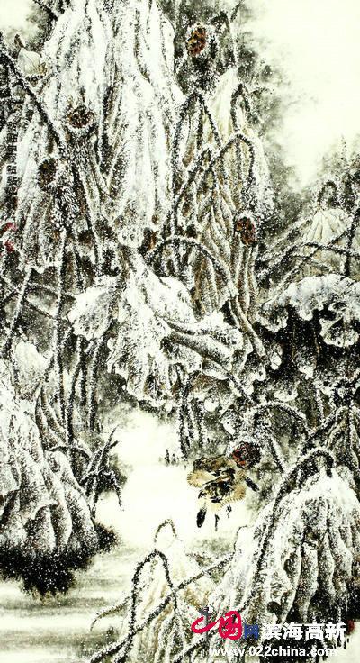 邓作列作品:点点白雪点点春