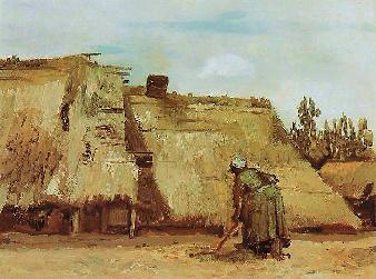梵高 正在挖地的农妇 油画