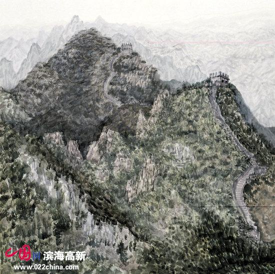 李翔新作:《长城脚踏千山涌 烽火台阶万里春》。