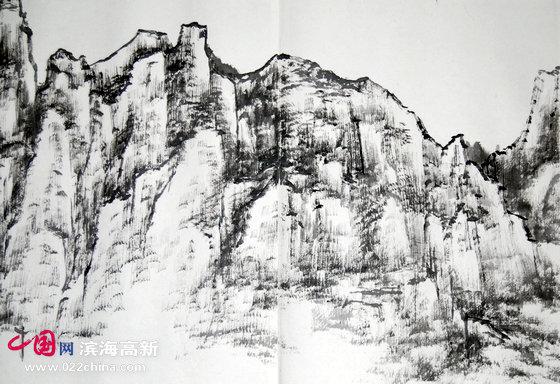 组图:天津著名画家陈之海太行山写生墨稿