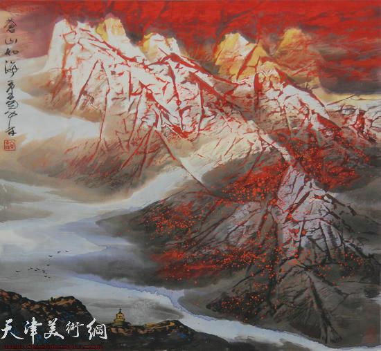 蜀山嘉陵画派创始人向中林作品:苍山如海