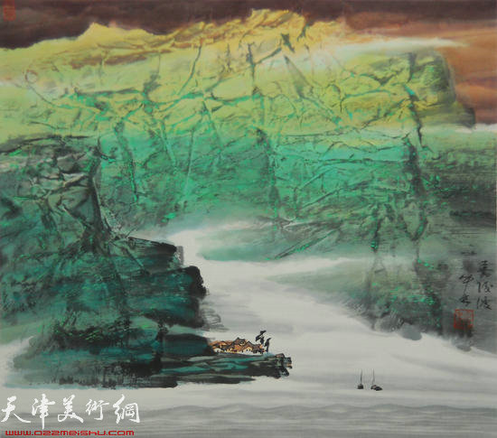 蜀山嘉陵画派创始人向中林作品:嘉陵渡