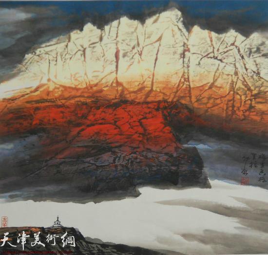 蜀山嘉陵画派创始人向中林作品:梅里香格里拉