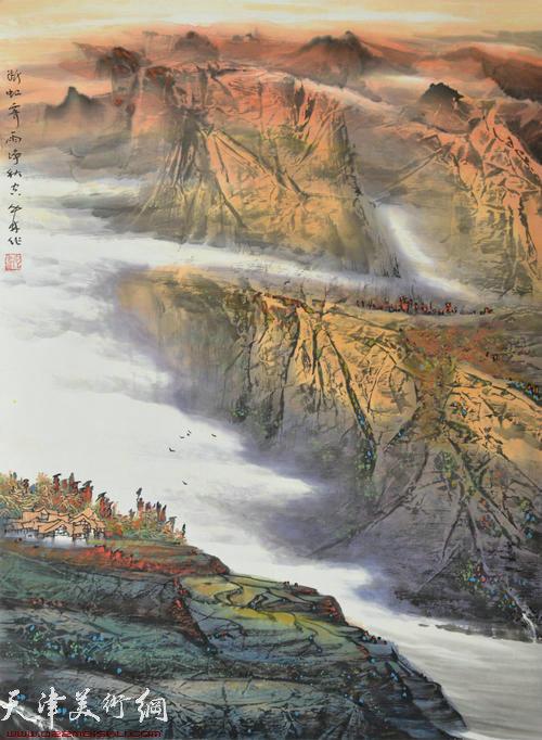 蜀山嘉陵画派创始人向中林作品:断虹霁雨净秋空