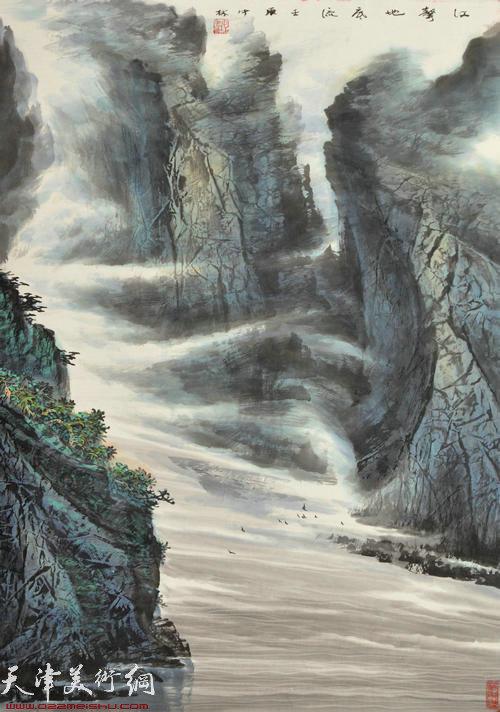 蜀山嘉陵画派创始人向中林作品:江声地底流
