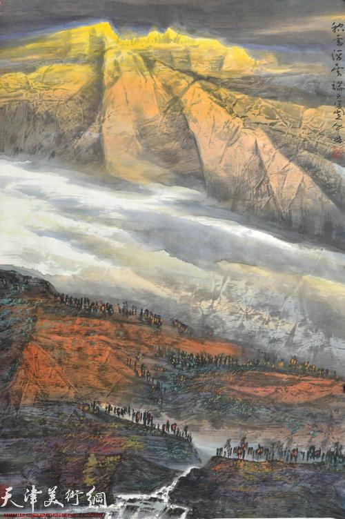 蜀山嘉陵画派创始人向中林作品:积雪浮云端