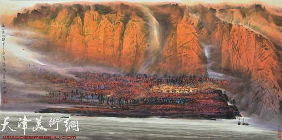 蜀山嘉陵画派创始人向中林作品:万叶秋声里千家落照时