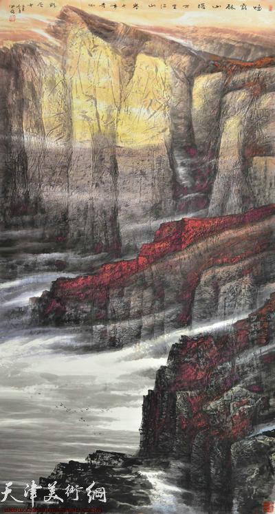 蜀山嘉陵画派创始人向中林作品:烟峡剑山