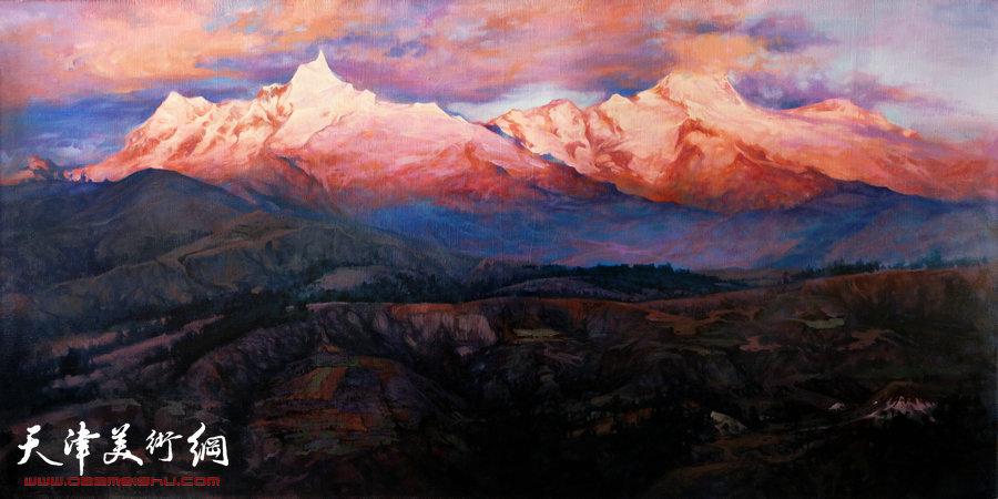 沙志国作品:《晚霞中灿烂的梅里雪山》