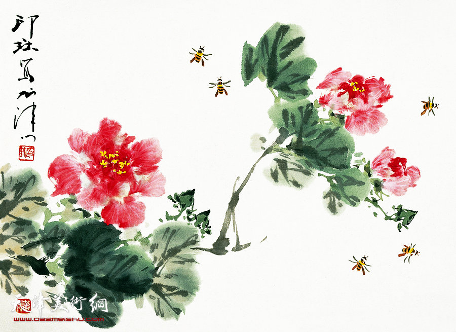 萧朗花鸟小品画作:《芙蓉》1990年