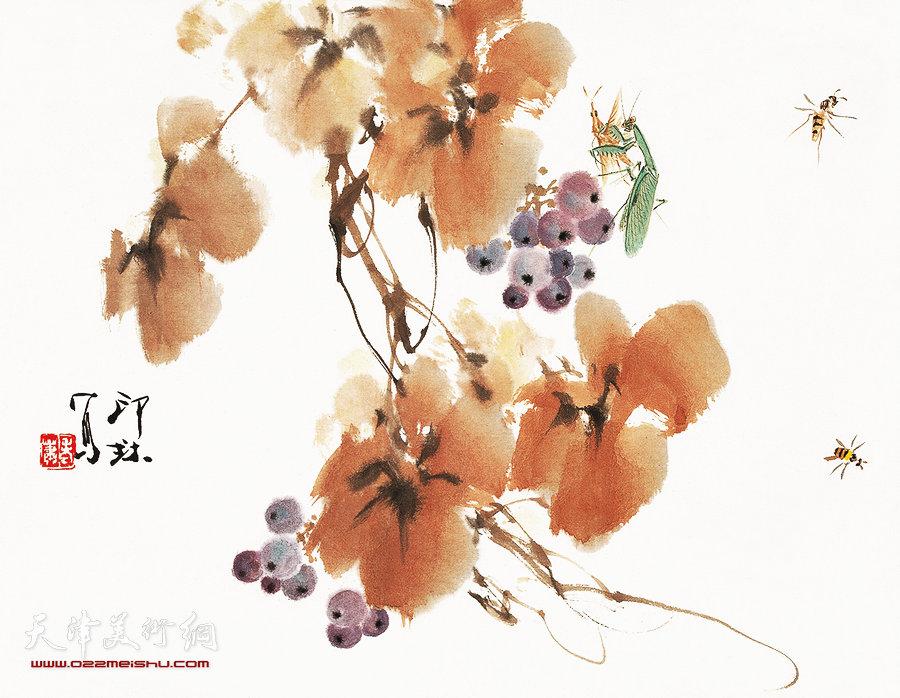 萧朗花鸟小品画作:《紫葡萄》1990年