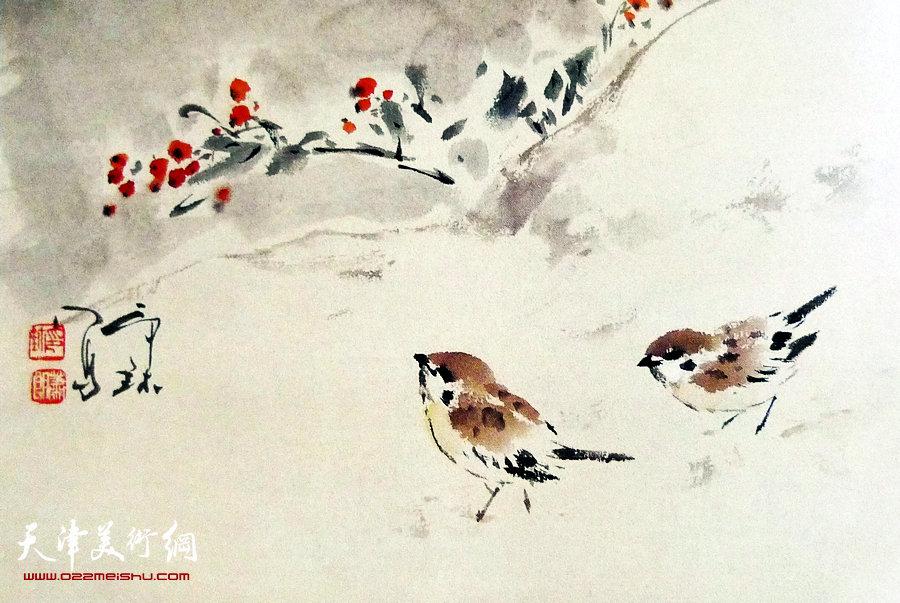 萧朗花鸟小品画作:《冬雀》1987年