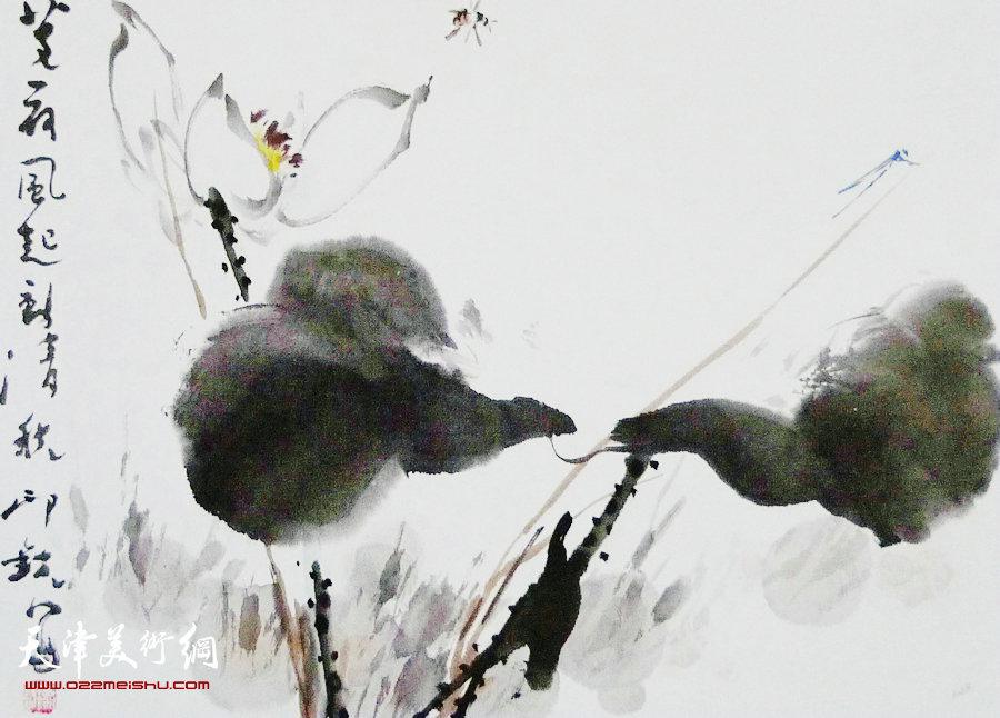 萧朗花鸟小品画作:《清秋》1984年