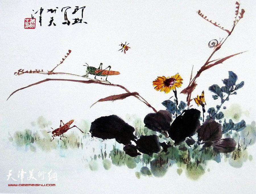 萧朗花鸟小品画作:《野趣》1988年