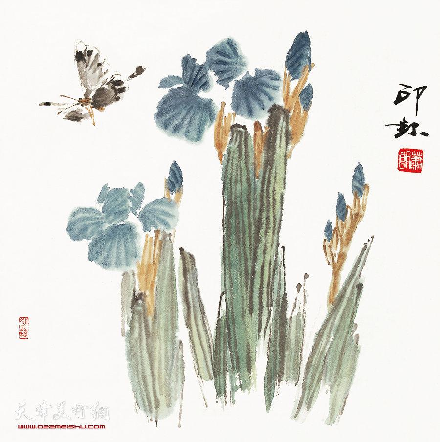 萧朗花鸟小品画作:《蝶恋花》1996年