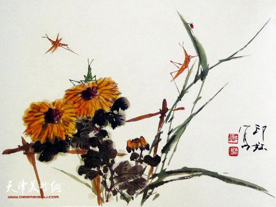 萧朗花鸟小品画作:《菊香》1988年