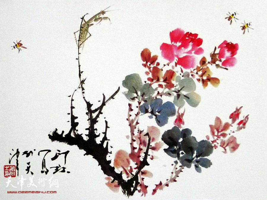 萧朗花鸟小品画作:《远望》1988年