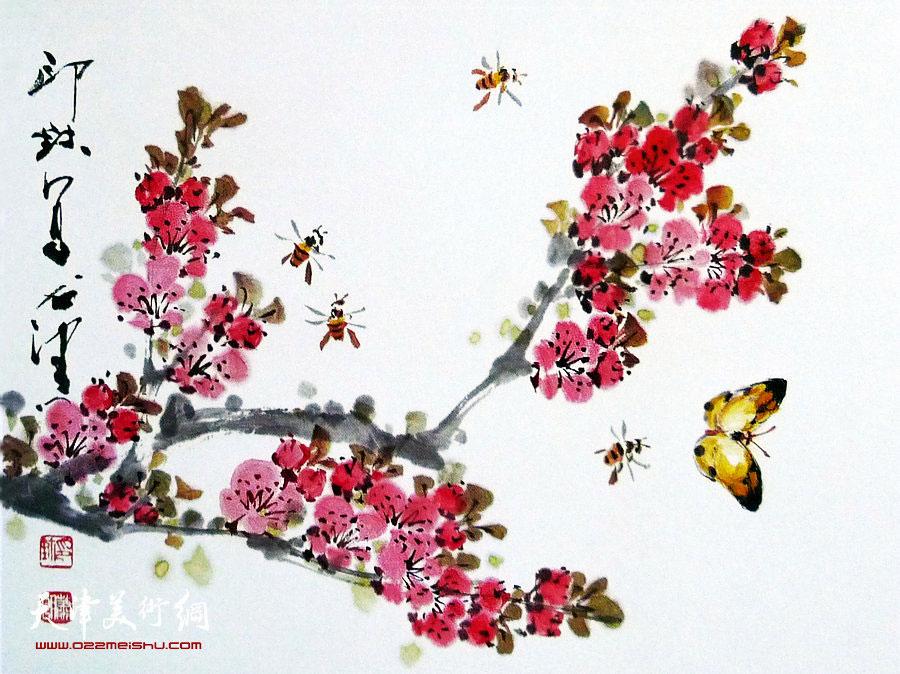 萧朗花鸟小品画作:《春桃》1988年
