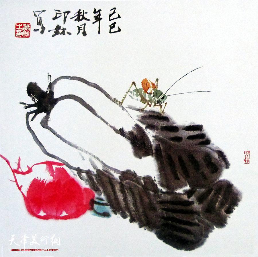 萧朗花鸟小品画作:《叫蝈蝈》1989年