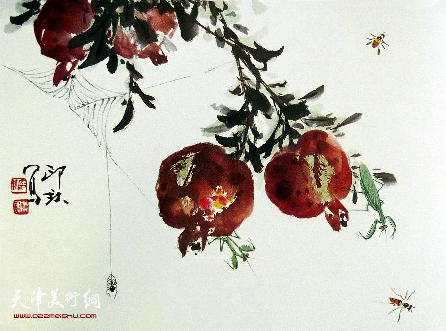 萧朗花鸟小品画作:《榴实虫戏》1989年