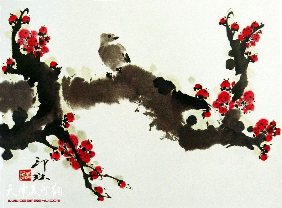 萧朗花鸟小品画作:《俏枝》1989年