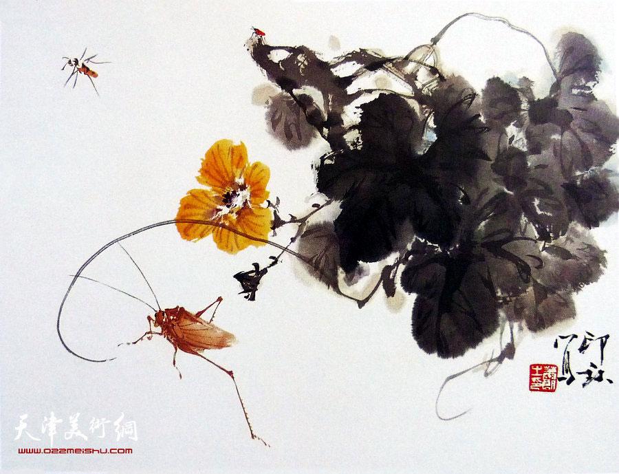萧朗花鸟小品画作:《花下》1989年