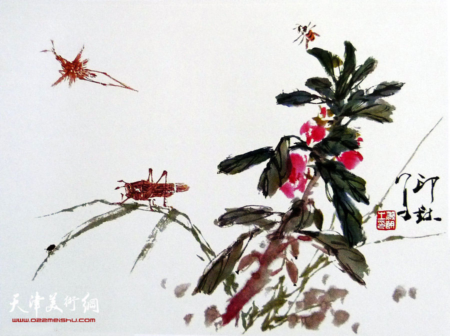 萧朗花鸟小品画作:《凤仙花》1989年