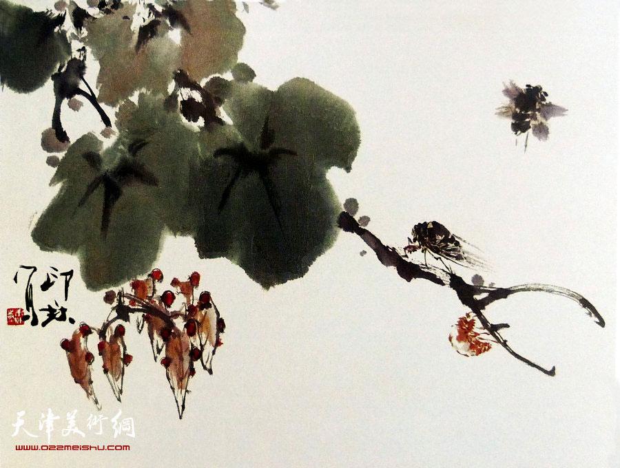 萧朗花鸟小品画作:《秋声》1990年