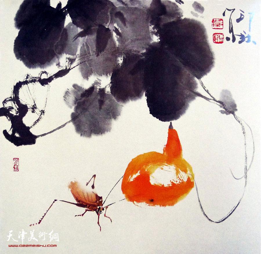 萧朗花鸟小品画作:《依样》1994年