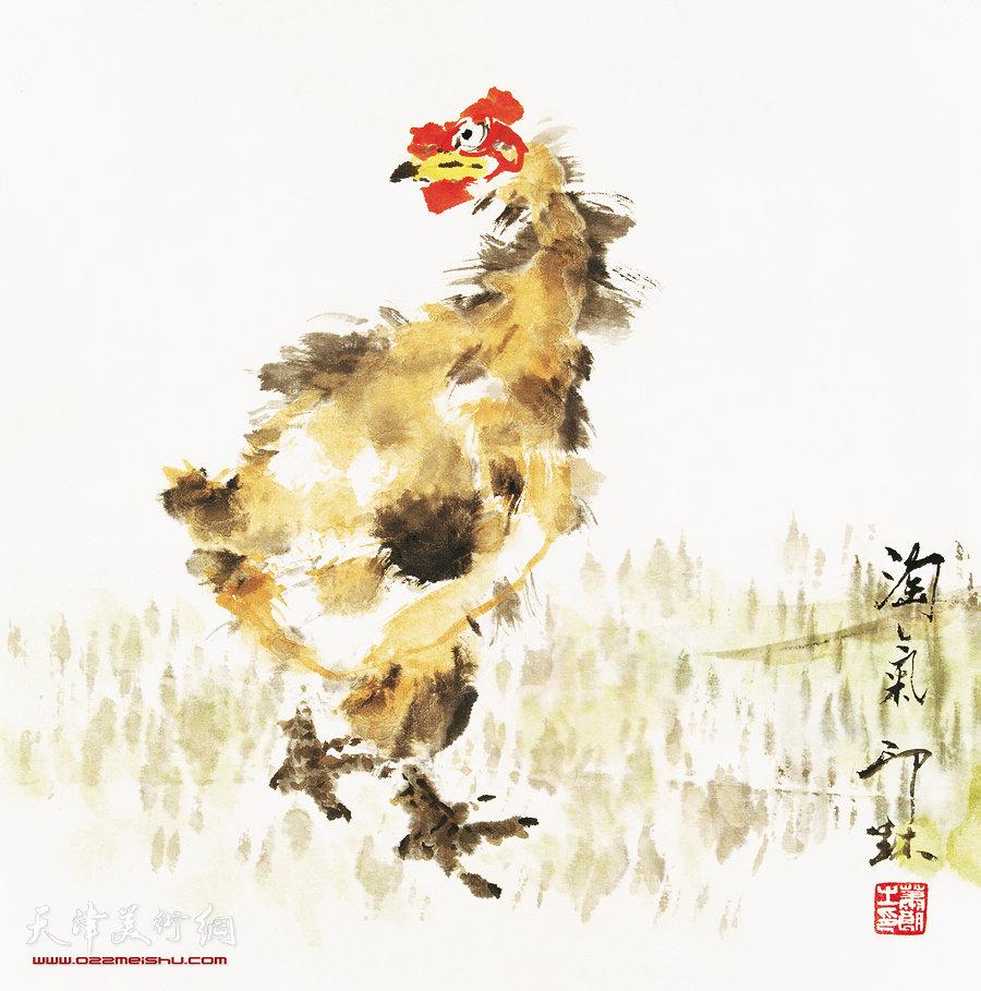 萧朗花鸟小品画作:《淘气》2003年