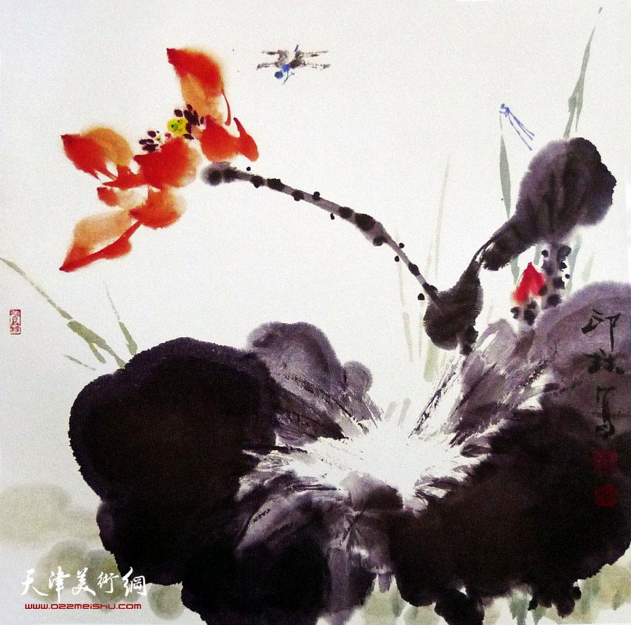 萧朗花鸟小品画作:《红荷》1997年