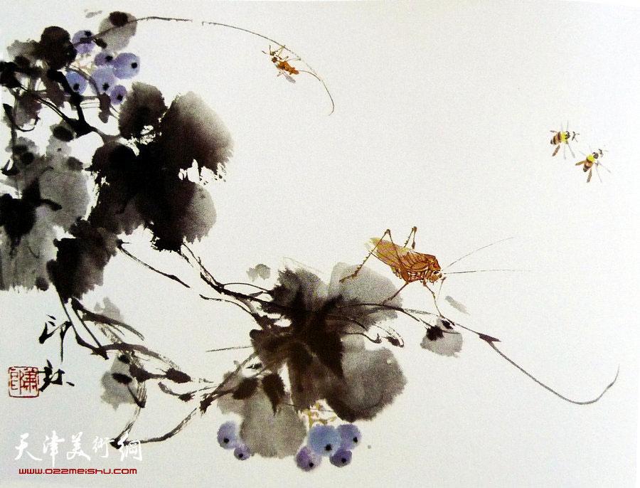 萧朗花鸟小品画作:《秋实》1987年