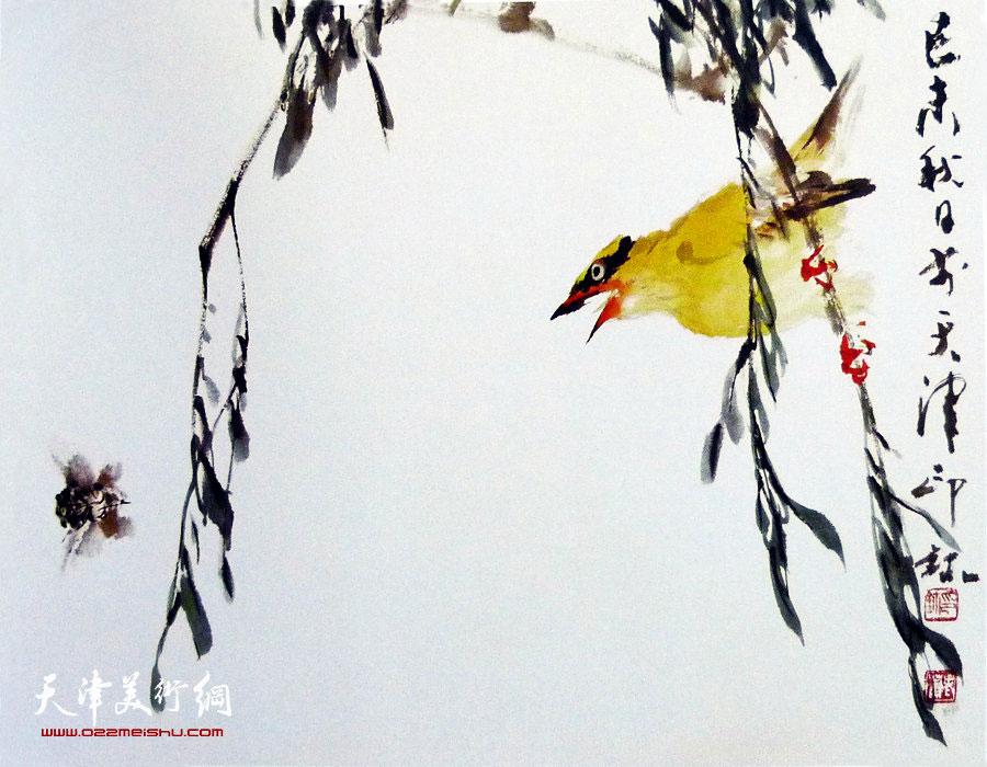 萧朗花鸟小品画作:《鸣柳》1979年