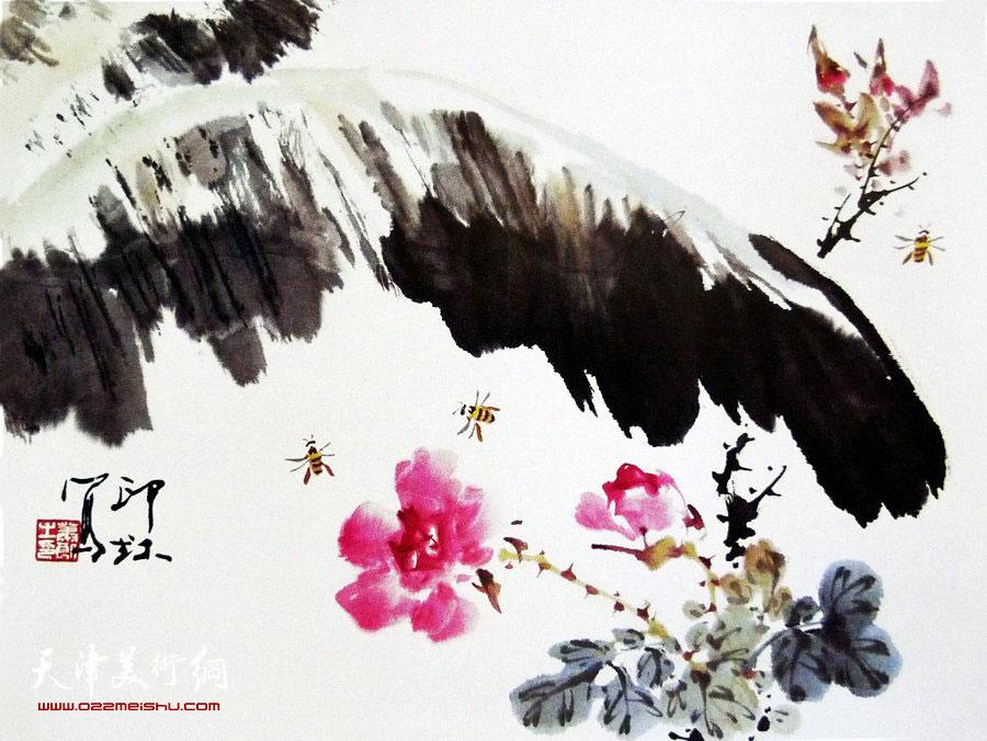 萧朗花鸟小品画作:《姣美图》1990年