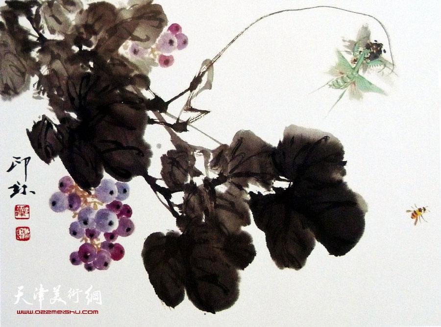 萧朗花鸟小品画作:《捕蝉》1987年
