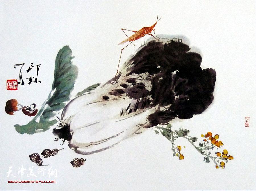 萧朗花鸟小品画作:《蔬香图》1989年