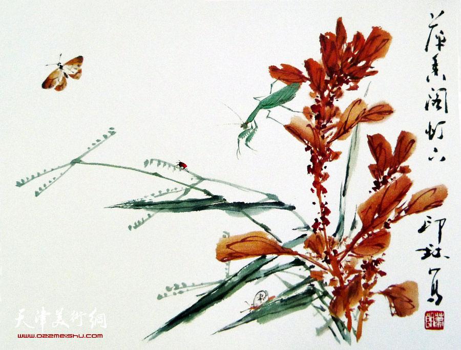 萧朗花鸟小品画作:《秋红》1990年