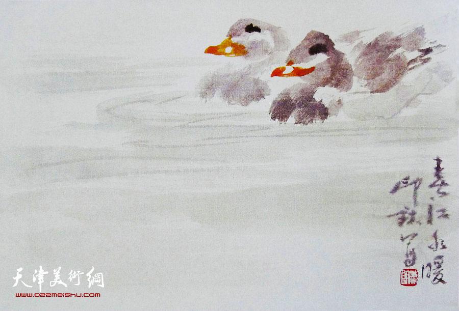 萧朗花鸟小品画作:《春江水暖》1986年