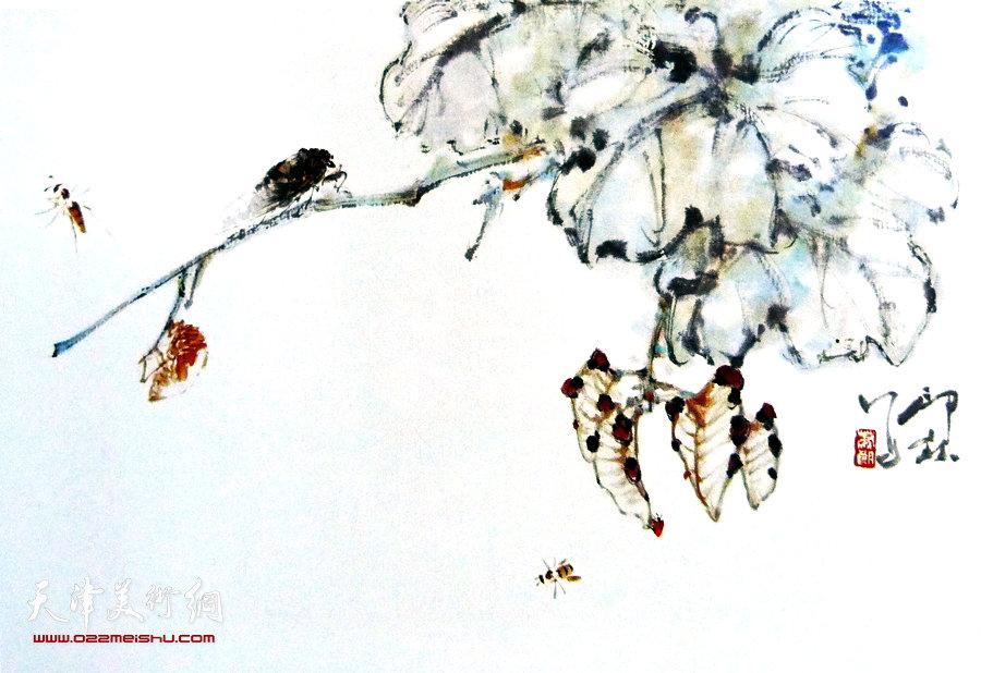萧朗花鸟小品画作:《秋歌》1980年
