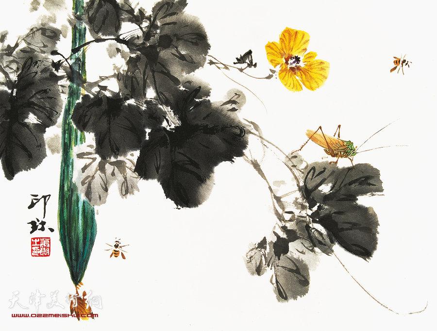 萧朗花鸟小品画作:《秋瓜》1998年